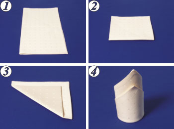 Napkin Folding - Cap with lapel.